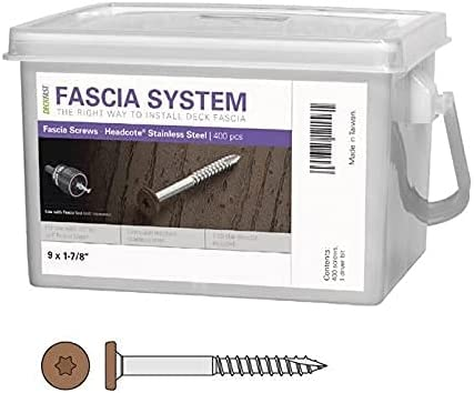 """popular Deckfast Stainless Steel Fascia Screws 9 outlet sale x 1-7/8"""" T-20 Star Drive outlet sale Brown 400 Pieces (Single Pack) outlet online sale"""