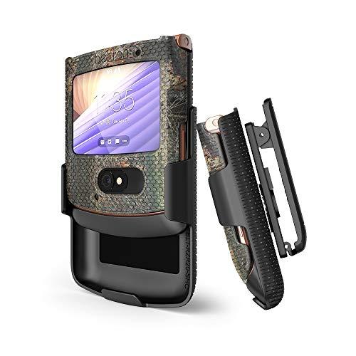 BELTRON Schutzhülle mit Clip für Motorola RAZR 5G (ATundT / T-Mobile), aufsteckbar, mit drehbarem Gürtelholster & eingebautem Ständer für RAZR 5G Flip Phone (2020) XT2071, Outdoor Camouflage