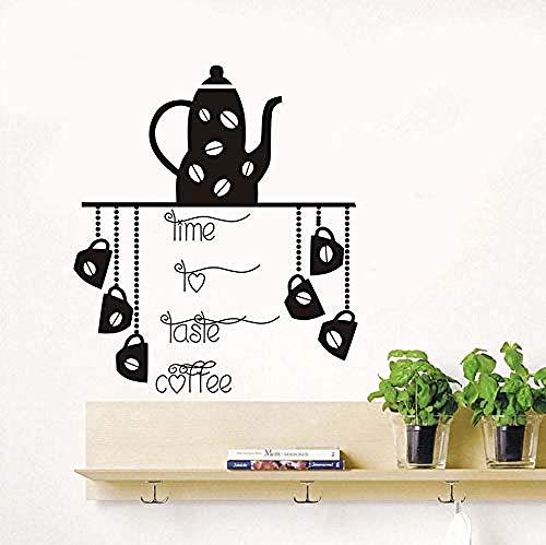 Muursticker Keuken Koffie Shop Restaurant Theepot Koffie Cup Afneembare Applique Art Deco Vinyl Tijd Proeven Koffie 51 * 44CM