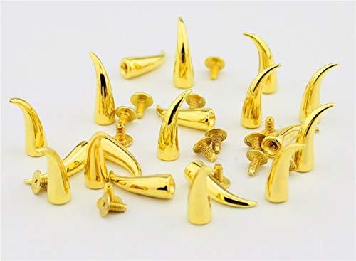 Remaches de cuero, 20 unids 7 * 20 mm moda Dragon Design Silver Steel Punk Rock Studs and Spikes Nailhead para ropa DIY Shoes Rivet Decor Craft Regalo (Color : Golden)