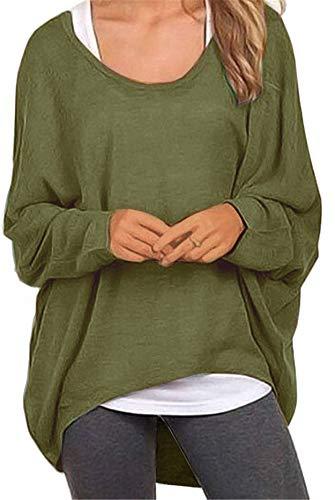 Meyison Damen Lose Asymmetrisch Sweatshirt Pullover Bluse Oberteile Oversized Tops T-Shirt Armee Grün L