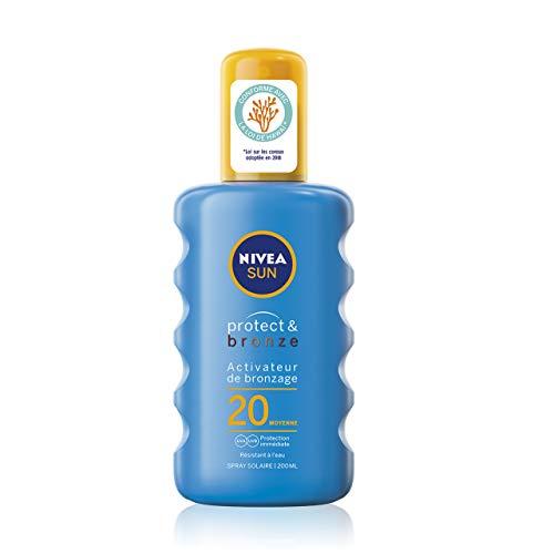 NIVEA SUN Spray solaire activateur de bronzage Protect & Bronze FPS 20 (1 x 200 ml), crème solaire avec protection solaire UVA/UVB pour un hâle naturellement bronzé