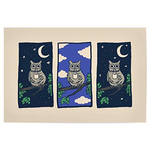 artboxONE Poster 30x20 cm Für Kinder Coffee Hangover hochwertiger Design Kunstdruck - Bild owl Birds Animals