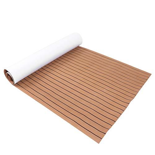 Jimdary Selbstklebende Deckmatte, Eva-Bootszubehör Rutschfester Teppichboden, Marinematte für Yachtbootdecks(Light Brown+Black)