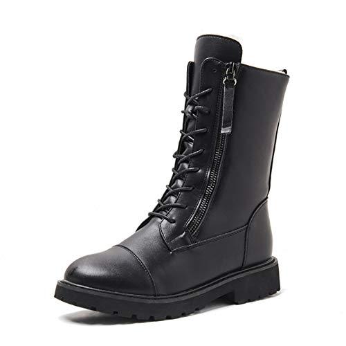 JHU Botas de Cuero para La Nieve para Mantener El Calor de Las Mujeres, Zapatos para Caminar A Mediados de Plataforma de Felpa para Mujer de Invierno