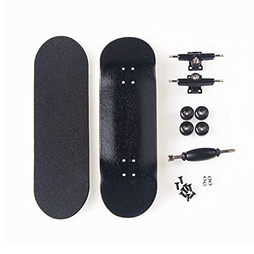 LIBAISI Monopatín de los Dedos 8 Color Skate Toys Tipo Profesional Rodamientos Ruedas Skid Pad Mapate Madera Monopatín Pieza de patinetas ( Color : Black )