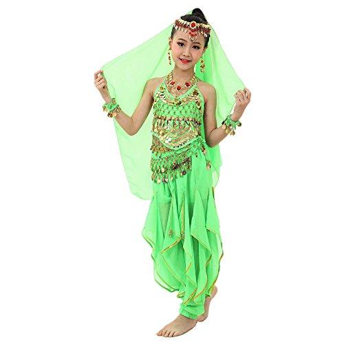 Mädchen Kleid Prinzessin Kostüm Bauchtanz Verkleidung Pailletten Tops Hosen Ägypten Indische Partykleid Outfits Bauchtänzerin Fasching Tanzkleidung Oberteil + Pluderhosen S