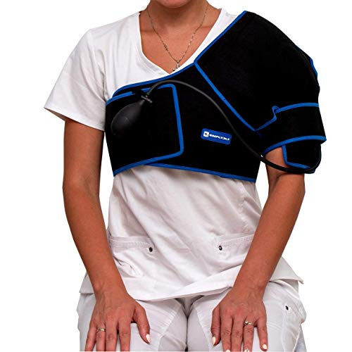 SimplyJnJ Shoulder Ice Wrap - Cold Therapy with Compression & 2 Ice Gel Packs - Essential Kit for Shoulder Pain and Shoulder Surgery Recovery (Regular Size)