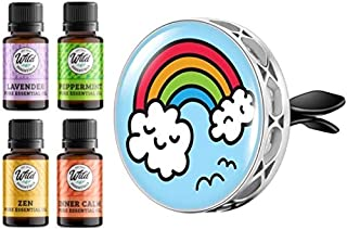 Wild Essentials Rainbow Cloud Enamel Aromatherapy Car Vent Air Freshener Essential Oil Diffuser With Vent Clip 8 Color Pad...