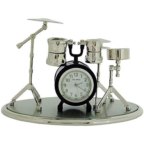 The Emporium Miniature Clocks Miniatur Uhren Schlagzeug silberf. & schw. lackierte Sammleruhr 9078