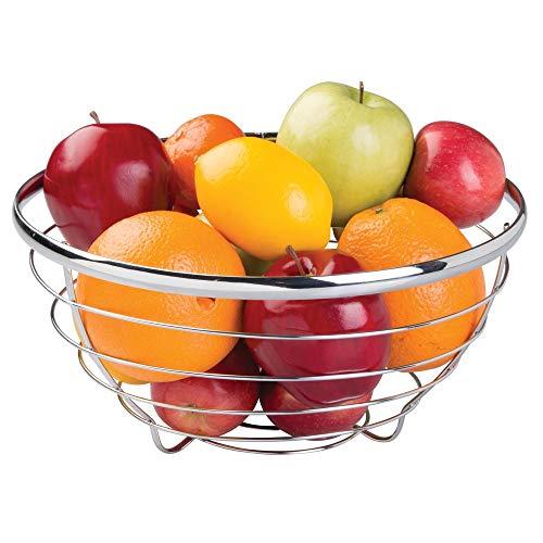 iDesign runder Obstkorb aus Metalldraht, moderne Obstschale für Obst, Gemüse & mehr, Korb zur Obstaufbewahrung, silberfarben
