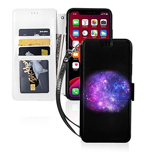 Estuche para teléfono LINGF,Estuche Galaxy púrpura para iPhone 11 Pro MAX Estuche Lindo para Mujeres Hombres Estuche de Cuero con Billetera Estuche Protector con Correa