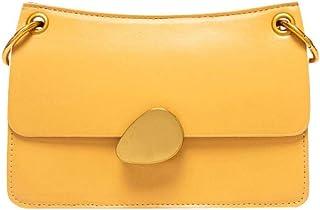 Cross Body Bag Leather Women Lock buckle Fashion Small square bag Yellow