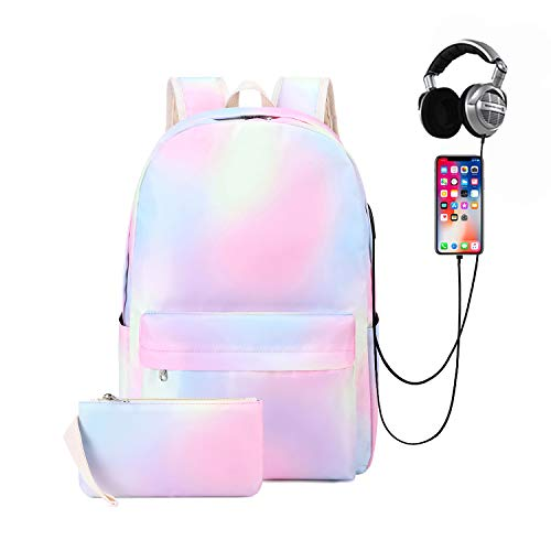 Natayoo Rainbow Laptop Backpacks for Women Water Resistant Casual Daypack Travel Backpack with USB Charging Port & Headphone Interface,Rainbow-pink,Large