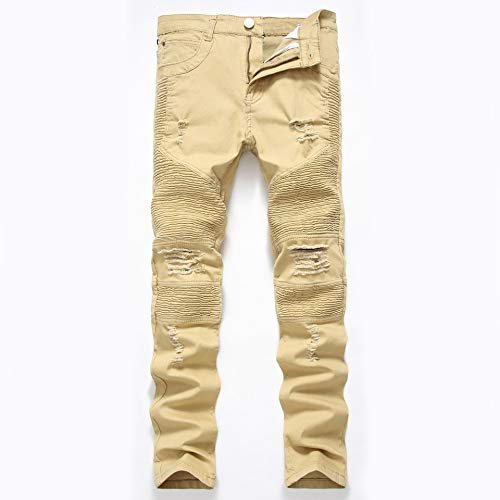 ShFhhwrl Vaqueros de Moda clásica Pantalones Vaqueros Rectos De Punk Rock para Hombre Pantalones con Agujeros Pantalones Vaqueros