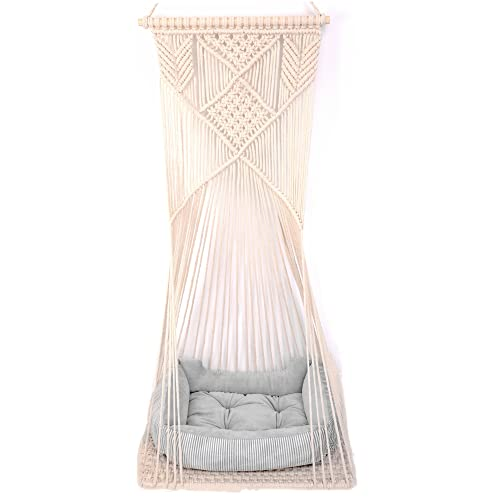 Doralus Cat Bed Cat Hammock Macrame Cat Swing Bed Cat Cage Cotton Rope Hanging Cat House Cats Toy Tassel Basket Tapestry (Beige, Swing Bed+Cushion)