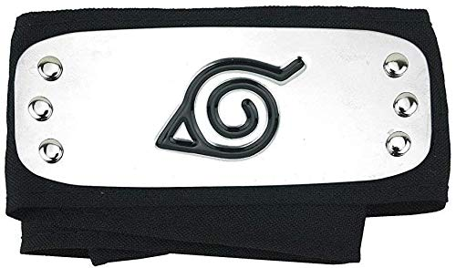 GUGUBU Naruto Shippuden Konoha Leaf Bandeau pour cosplay Noir