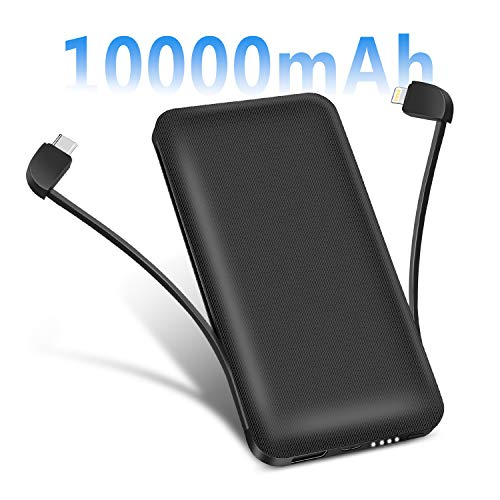 Portable Charger Power Bank 10000mAh Battery Pack Smart Phone Charger with 2 Built-in Cords 3 Output Ports Compatible Tablets Android Phones and Other Smart Devices