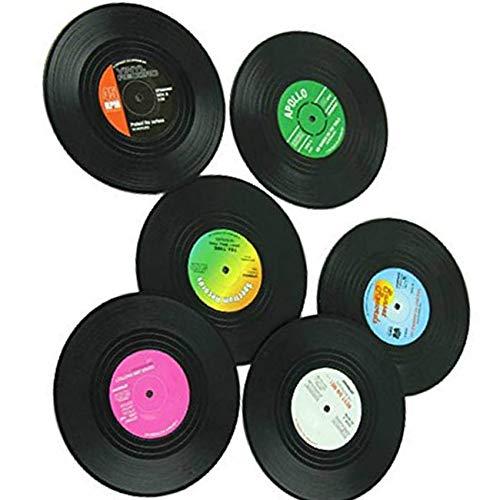 teng hong hui 6pcs CD Vinyl Record Coaster Copa Bebidas Titular Mat CD récord en la Copa Vajilla Mantel de Cristal del té del cojín Decoración