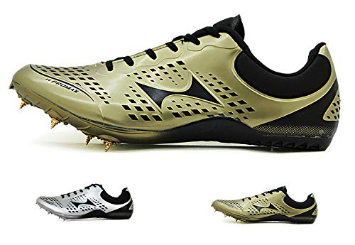 HEALTH Women's Men's Track and Field Shoes Track Spike Running Sprint Shoes Mesh Breathable Professional Athletic Shoes Gold
