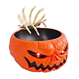 FUNPENY Halloween Candy Bowl, Animated Pumpkin Candy Holder, Lighted Red Eyes and Sound Candy Dish with Motion Activated for Trick-or-Treaters Party