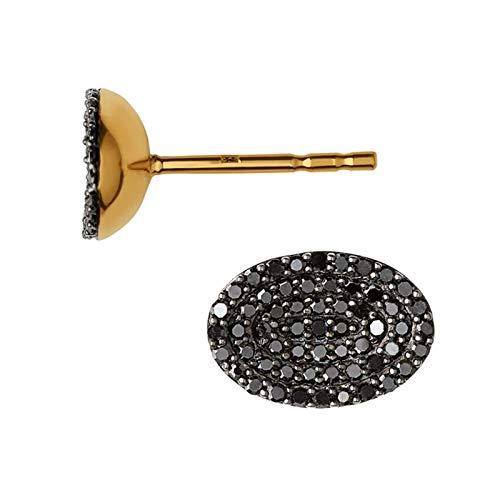 LINKS OF LONDON Ladies Concave Black Diamond Gold Vermeil Earrings RRPœ690 NEW