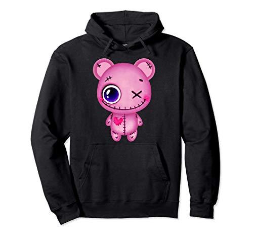 Creepy Pastell Teddy Bär Pink Japanische Sad Ästhetik Pullover Hoodie