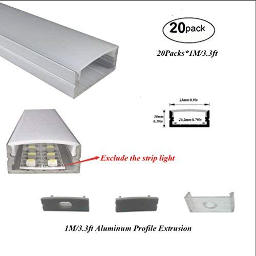 Hanks Sales results No. 1 20Pack 1M 3.3ft 23X10mm Extrus LED Profile Surface Mounted Spring new work one after another