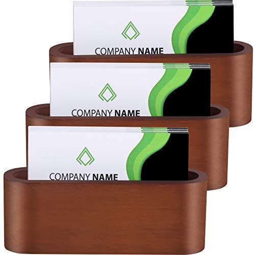 3 Pieces Wooden Business Card Holder Desk Business Card Holder Wood Card Case for Office Supplies, Dark Brown (Style 1)