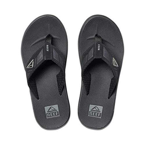 Reef Men's Sandals Phantom Leather | Athletic Flip Flops for Men with Contoured Footbed | Waterproof | Black | Size 12