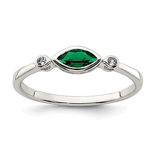 Ryan Jonathan Fine Jewelry Anillo de plata de ley con topacio blanco y esmeralda, talla Q