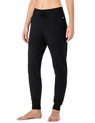 Naviskin Damen Yoga Laufhose Outdoor Lounge Sweat Pants Seitentaschen, Damen, schwarz, Medium