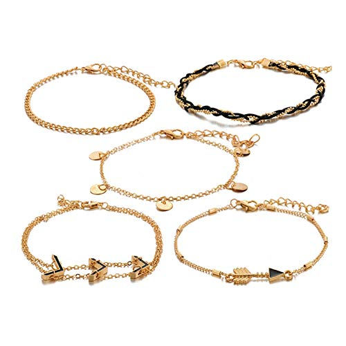 Sencillo y Elegante 5 unids/Set gótico Negro Arrow Tobilleras para Las Mujeres Lentejuelas Hechas a Mano Cadena de Cuerdas Toblet Party Beach Jewelry para Regalo de joyería de Mujer