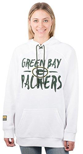NFL Ultra Game Green Bay Packers Fleece Hoodie Pullover Sweatshirt Tie Neck, Medium, White