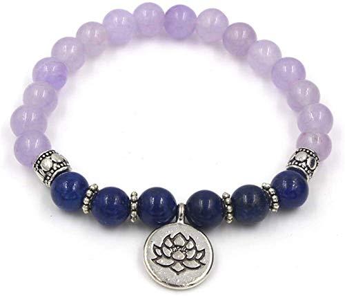 KEEBON Mujer Pulsera de Piedra, 7 Chakra 8mm de 8mm Natural púrpura Lapis Lapis Bangle elástico Loto Colgante joyería Reza Yoga energía Reiki Encanto difusor Regalo para Hombres