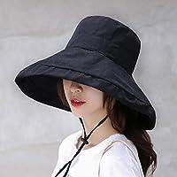 YONIK 日よけ帽子 UVカット 帽子 つば広 レディース ハート 日焼け防止 サンハット 紫外線対策 おしゃれ (黒)