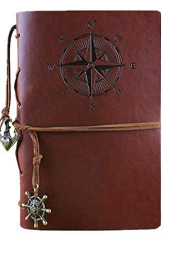 Clafund Diario Di Viaggio In Pelle Di PU Travel Journal Diario Pirata depoca ancoraggio Brown Motivo Bussola E Ciondolo