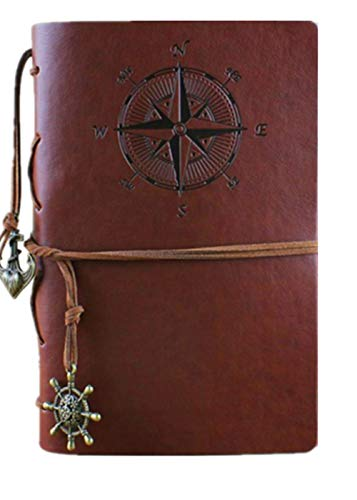 Scopri offerta per Clafund Diario Di Viaggio In Pelle Di PU Travel Journal Diario Pirata depoca ancoraggio Brown Motivo Bussola E Ciondolo