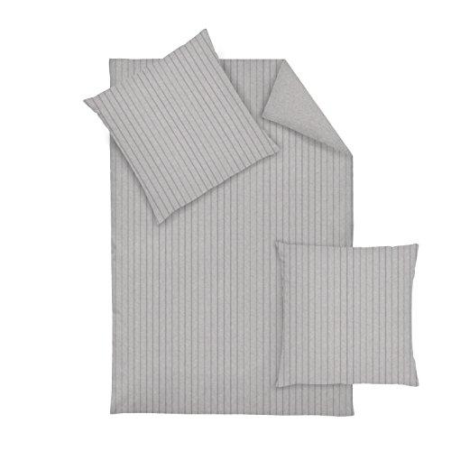Dormisette Flanell Bettwäsche 2 teilig Bettbezug 135 x 200 cm Kopfkissenbezug 80 x 80 cm Streifen silber
