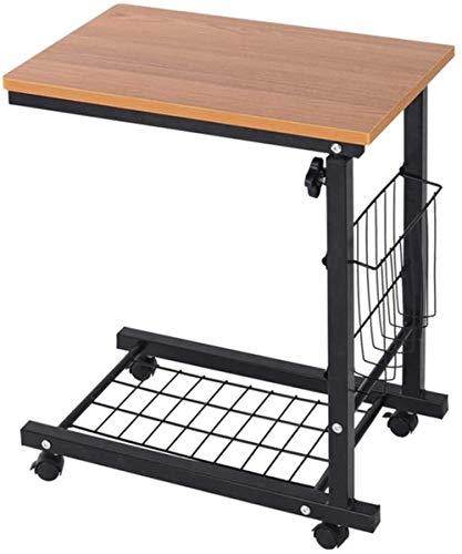 JISHIYU-Q Escritorio de ordenador para casa oficina mesa con ruedas sofá mesa y estantes de almacenamiento estilo C, altura ajustable, resistente y resistente, para espacios pequeños (color: natural)