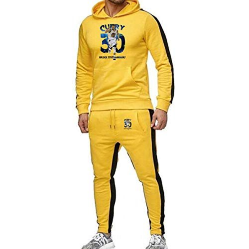 Heren 2 stuks Sets Golden State Warriors Curry No. 3 Trainingspak Heren Herfst Winter met capuchon + Koord Pants Man Sweaters Basketball Training Kleding,Yellow,XXXL
