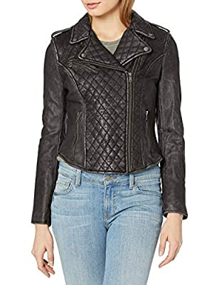 Levi's Women's Leather Assymetrical Diamond Quilted Moto Jacket, Black, X-Small
