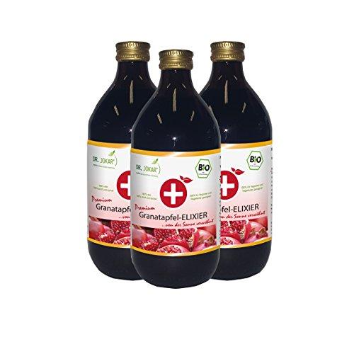 Bio Granatapfel Elixier (3 x 500 ml) von Dr. Jokar – 100% Direktsaft aus reifen Granatapfelfrüchten, unverfälscht, ohne Zucker oder andere Zusätze. Kostenlose Lieferung