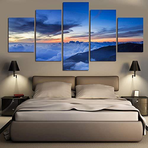 Gxucoa Cuadro sobre Impresión Lienzo 5 Piezas Hermoso Paisaje Extremo HD Arte De Pared Modulares Sala De Estar Dormitorios Decoración para El Hogar Póster