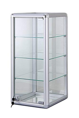 14  W x 12  D x 27  H Glass Display Showcase - Counter Top Aluminum Frame Tempered Glass, 3 Shelves