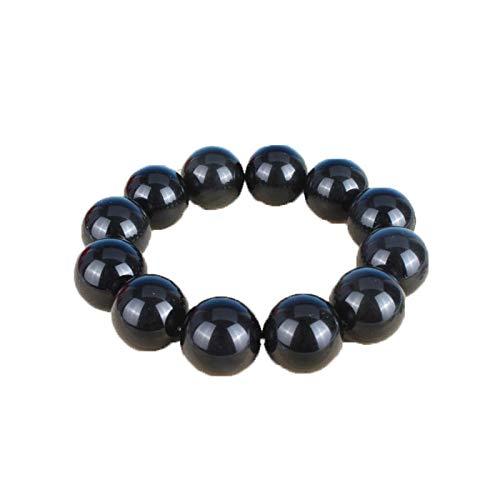 ZHIBO - Pulsera de Piedras de obsidiana Natural Negra para Hombres y Mujeres de 12 mm