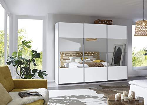 Rauch Möbel Caracas Schrank Kleiderschrank Schwebetürenschrank Weiß mit Spiegel 3-türig inkl. Zubehörpaket Classic 5 Einlegeböden, 3 Kleiderstangen, 1 Hakenleiste, BxHxT 271x210x62 cm