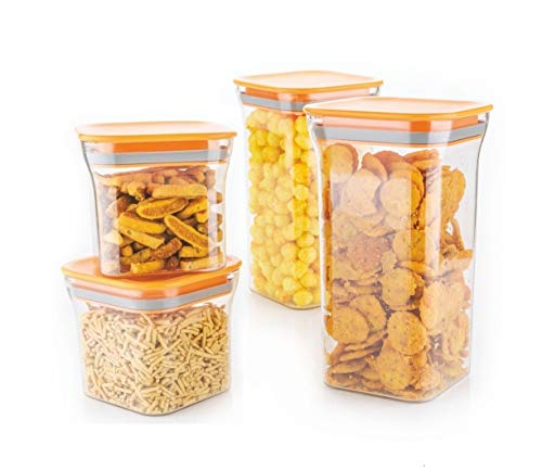 Machak Unbreakable Air Tight Food Storage Jar Kitchen Container Set (Orange, 4 Pieces)