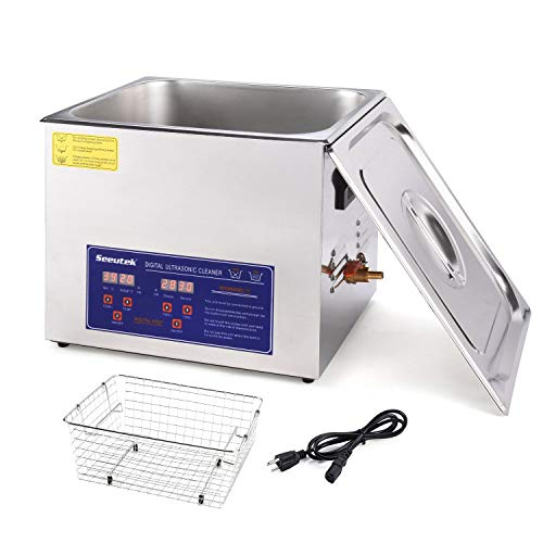Seeutek Professional Ultrasonic Cleaner 10L with Digital Timer and Heater 304 Stainless Steel for Jewelry Rings Diamond Watch Glasses Circuit Board Dentures Small Parts Dental Instrument
