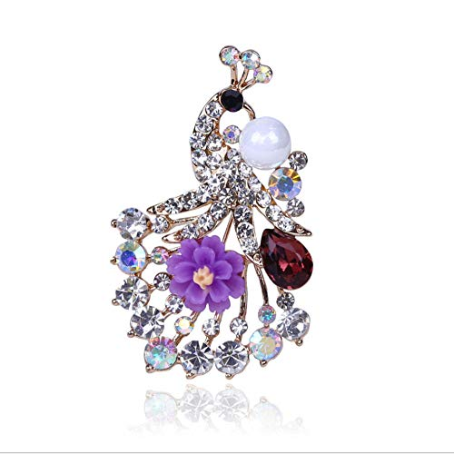 N/W Brooches For Women Ladies Bird Peacock Brooch With Rhinestone Crystal Glass Purple Flower Brooch Gift Jewellery Brooch Pins